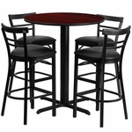 24'' Round Mahogany Laminate Table Set with Ladder Back Metal Barstool and Black Vinyl Seat, Seats 4 [REST-009-BK-MAH-FS-TDR]