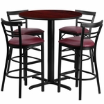 24'' Round Mahogany Laminate Table Set with Ladder Back Metal Barstool and Burgundy Vinyl Seat, Seats 4 [REST-010-BG-MAH-FS-TDR]