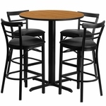 24'' Round Natural Laminate Table Set with Ladder Back Metal Barstool and Black Vinyl Seat,Seats 4 [REST-009-BK-NAT-FS-TDR]