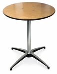 30''H Round Plywood Pedestal Table with Aluminum X-Base [72012-MCC]
