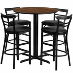 24'' Round Walnut Laminate Table Set with Ladder Back Metal Barstool and Black Vinyl Seat, Seats 4 [REST-009-BK-WAL-FS-TDR]
