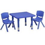 24'' Square Blue Plastic Height Adjustable Activity Table Set with 2 Chairs [YU-YCX-0023-2-SQR-TBL-BLUE-R-GG]