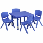 24'' Square Blue Plastic Height Adjustable Activity Table Set with 4 Chairs [YU-YCX-0023-2-SQR-TBL-BLUE-E-GG]