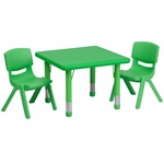 24'' Square Green Plastic Height Adjustable Activity Table Set with 2 Chairs [YU-YCX-0023-2-SQR-TBL-GREEN-R-GG]
