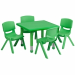24'' Square Green Plastic Height Adjustable Activity Table Set with 4 Chairs [YU-YCX-0023-2-SQR-TBL-GREEN-E-GG]