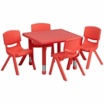 24'' Square Red Plastic Height Adjustable Activity Table Set with 4 Chairs [YU-YCX-0023-2-SQR-TBL-RED-E-GG]