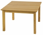 24''D x 24''W Square Hardwood Table with .75''H Bull-Nose Edge and 22''H Legs - Natural Finish [ELR-070-ECR]