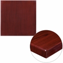 24'' Square High-Gloss Mahogany Resin Table Top with 2'' Thick Edge