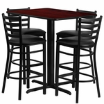 24''W x 42''L Rectangular Mahogany Laminate Table Set with Ladder Back Metal Barstool and Black Vinyl Seat, Seats 4 [REST-005-BK-MAH-FS-TDR]