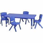 24''W x 48''L Rectangular Blue Plastic Height Adjustable Activity Table Set with 4 Chairs [YU-YCX-0013-2-RECT-TBL-BLUE-R-GG]