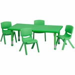 24''W x 48''L Rectangular Green Plastic Height Adjustable Activity Table Set with 4 Chairs [YU-YCX-0013-2-RECT-TBL-GREEN-R-GG]