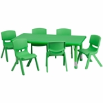 24''W x 48''L Rectangular Green Plastic Height Adjustable Activity Table Set with 6 Chairs [YU-YCX-0013-2-RECT-TBL-GREEN-E-GG]