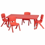 24''W x 48''L Rectangular Red Plastic Height Adjustable Activity Table Set with 4 Chairs [YU-YCX-0013-2-RECT-TBL-RED-R-GG]