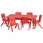 24''W x 48''L Rectangular Red Plastic Height Adjustable Activity Table Set with 6 Chairs [YU-YCX-0013-2-RECT-TBL-RED-E-GG]
