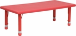 24''W x 48''L Rectangular Red Plastic Height Adjustable Activity Table [YU-YCX-001-2-RECT-TBL-RED-GG]