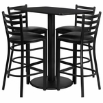 24'' x 42'' Rectangular Black Laminate Table Set with Ladder Back Metal Barstool and Black Vinyl Seat, Seats 4 [REST-015-BK-BK-FS-TDR]