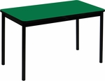 High Pressure Laminate Rectangular Lab Table with Black Base and T-Mold - Green Top - 24''D x 48''W [LT2448-39-CRL]
