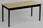 High Pressure Laminate Rectangular Library Table with Black Base and T-Mold - Fusion Maple Top - 24''D x 48''W [LR2448-16-CRL]