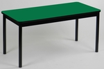 High Pressure Laminate Rectangular Library Table with Black Base and T-Mold - Green Top - 24''D x 48''W [LR2448-39-CRL]
