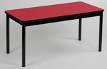 High Pressure Laminate Rectangular Library Table with Black Base and T-Mold - Red Top - 24''D x 48''W [LR2448-35-CRL]