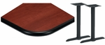 24'' x 48'' Laminate Table Top with Bullnose Vinyl Edge and 2 Bases - Standard Height [ATB2448-T0522M-SAT]