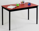 High Pressure Laminate Rectangular Lab Table with Black Base and T-Mold - Red Top - 24''D x 60''W [LT2460-35-CRL]