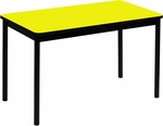 High Pressure Laminate Rectangular Lab Table with Black Base and T-Mold - Yellow Top - 24''D x 60''W [LT2460-38-CRL]