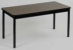High Pressure Laminate Rectangular Library Table with Black Base and T-Mold - Walnut Top - 24''D x 60''W [LR2460-01-CRL]