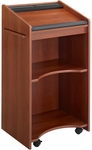 25.25'' W x 46'' H Executive Mobile Lectern with Two Shelves - Cherry [8918CY-FS-SAF]