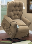 Three Way Reclining 44'' Tall Power Lift Chair with Matching Arm and Headrest Covers - Bromley Havana Fabric [2553T-BH-FS-MEDL]