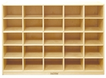 Birch 25 Cubby Tray Cabinet with 12'' Deep Cubbies - 48''W x 13''D x 36''H [ELR-0427-ECR]