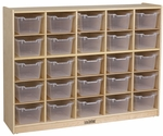 Birch 25 Cubby Tray Cabinet with 25 Clear Bins - 48''W x 13''D x 36''H [ELR-0427-CL-ECR]