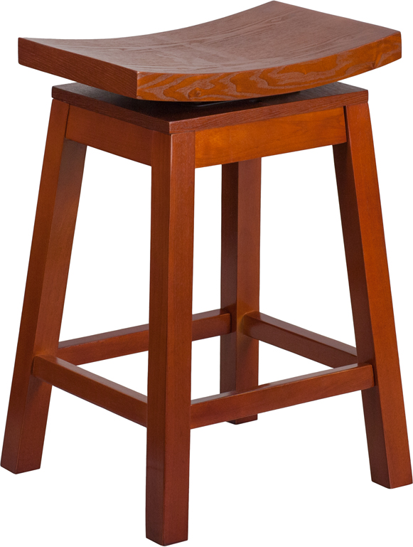 26 39 39 high saddle seat light cherry wood counter height stool with auto swivel seat return ta. Black Bedroom Furniture Sets. Home Design Ideas