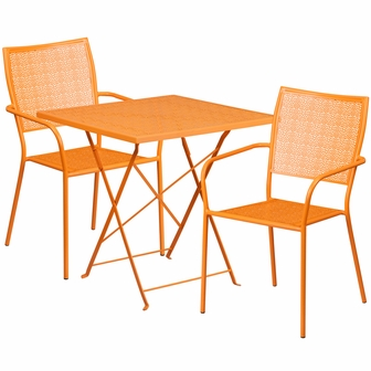 28u0027u0027 Square Orange Indoor Outdoor Steel Folding Patio Table Set With 2  Square Back Chairs [CO 28SQF 02CHR2 OR GG]