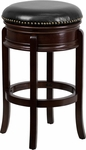 29'' High Backless Cappuccino Wood Barstool with Black Leather Swivel Seat [TA-68829-CA-GG]