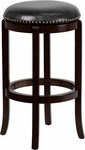 29'' High Backless Cappuccino Wood Barstool with Black Leather Swivel Seat [TA-68929-CA-GG]