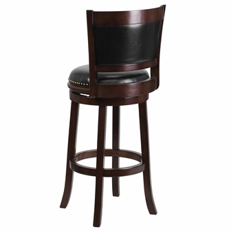 29 High Cappuccino Wood Barstool With Black Leather