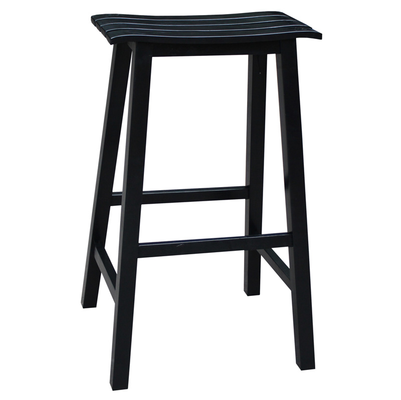 Classic Solid Wood 29 H Saddle Slat Seat Bar Stool