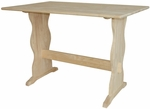 Classic Solid Parawood 43''W X 29''H Trestle Table - Unfinished [T-4328-FS-WHT]