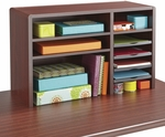 29'' W x 12'' D x 18'' H Compact Desk Top Organizer with Fully Adjustable Shelves - Mahogany [3692MH-FS-SAF]