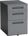 Mobile 15.50'' W x 23'' D Pedestal with 3 Drawers - Gray [66300-GRY-FS-MFO]