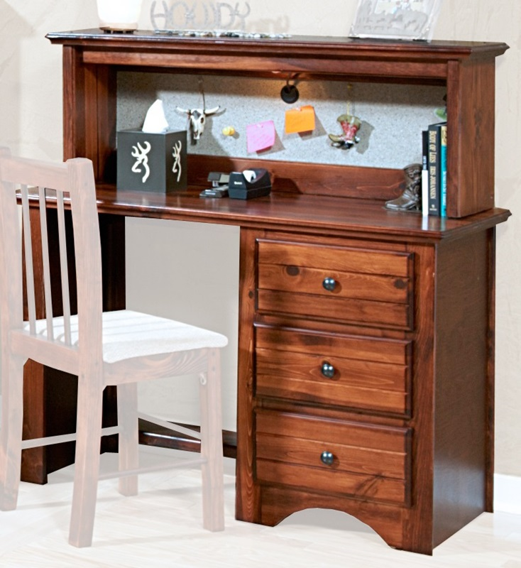 rustic style 45 39 39 w x 20 39 39 d solid pine 3 drawer student desk with hutch cocoa 3524477 4482 c. Black Bedroom Furniture Sets. Home Design Ideas