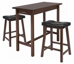 3-Pc Breakfast Table Set with 2 Stools [94304-FS-WWT]
