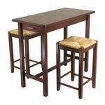 3-Pc Kitchen Island Table with 2 Rush Stools [94374-FS-WWT]
