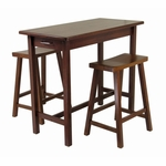 3-Pc Kitchen Island Table with 2 Saddle Stools [94344-FS-WWT]