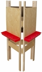 Adjustable Three Person Plywood Easel with Durable Plastic Trays Attached - 20''W x 24''D x 48''H [18700-WDD]