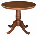 Butcher Block Solid Wood 30'' Diameter Pedestal Dining Table with 4 Foot Base - Espresso [K581-30RT-FS-WHT]