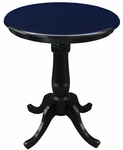 Solid Wood 2 In 1 Convertible 30'' Diameter Pedestal Dining Table - Black [K46-30RT-6B-FS-WHT]