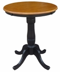 Solid Wood 2 In 1 Convertible 30'' Diameter Pedestal Dining Table - Black and Cherry [K57-30RT-6B-FS-WHT]