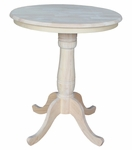 Butcher Block Top Solid Wood 30'' Diameter Pedestal Dining Table with 2 Base Extensions - Unfinished [K-30RT-6B-FS-WHT]